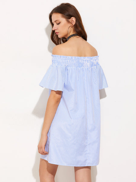 Blue Pinstripe Smocked Off Shoulder Bell Sleeve Ruffle Dress