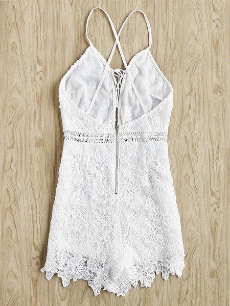 White Lace V-Neck Sleeveless Cami Strap Criss Cross Back Playsuit