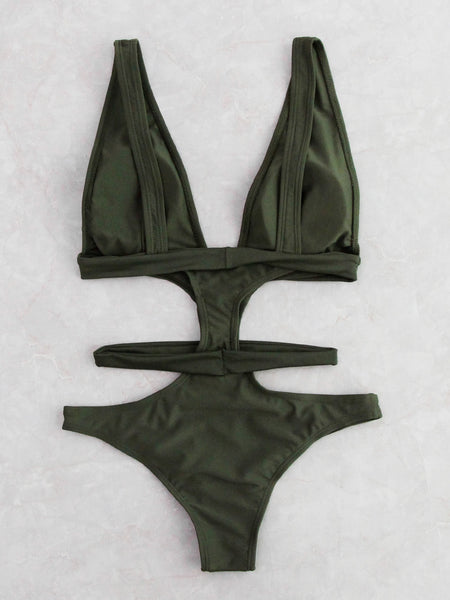 Green Deep V-Neck Cut Out Design Monokini