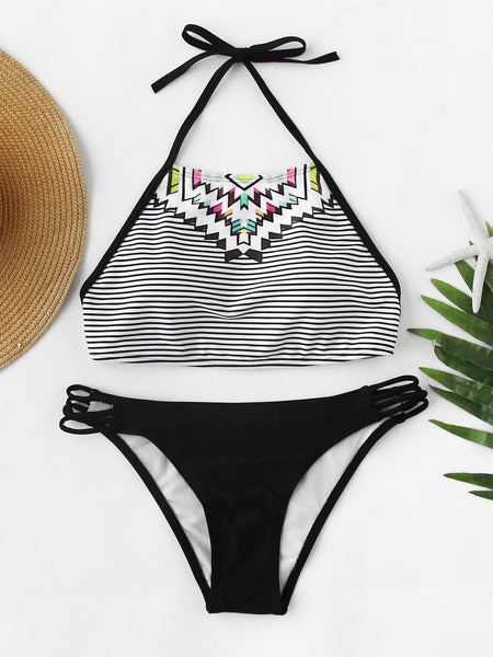 Black Halter Neck Striped and Tribal Print Bikini Set