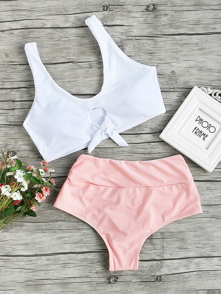 White and Pink Knot Front Tankini Set