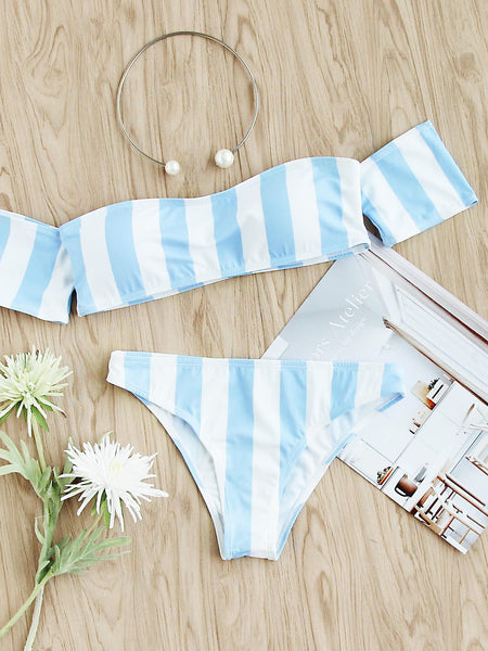 Blue Vertical Striped Off Shoulder Bikini Set