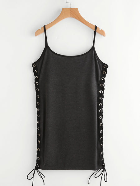 Grey With Print Sleeveless Cami Straps Eyelet Lace Up Side Mini Dress
