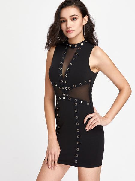 Black Sleeveless Round Neck Mesh Panel Eyelet Detail Bodycon Dress