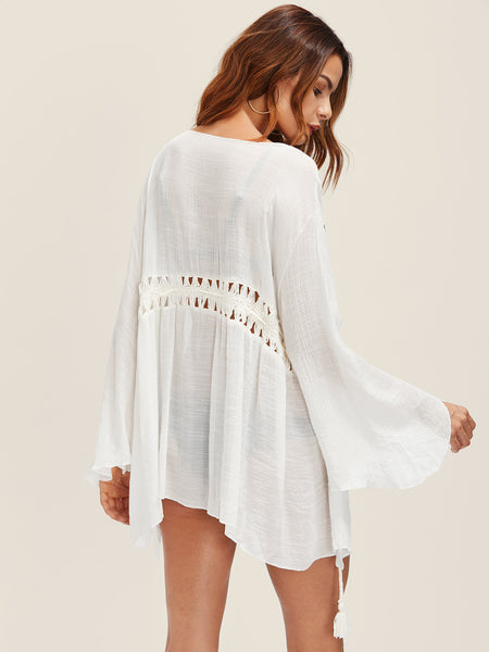 cf0546f7cc894 White Lantern Sleeve Tassel Tie Hollow Out Crochet Panel Cover Up ...