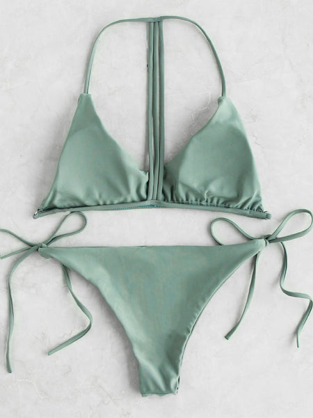 Green T-Back Strap Triangle Padded Side Tie Bikini Set