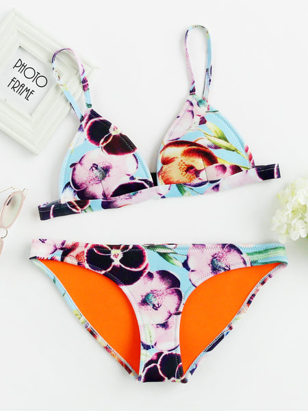 Blue Triangle Calico Print Adjustable Strap Bikini Set