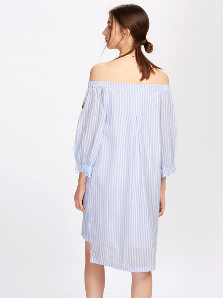 Blue Vertical Striped Butterfly Embroidered Fluted Sleeve Off Shoulder Stepped Hem Bardot Mini Dress