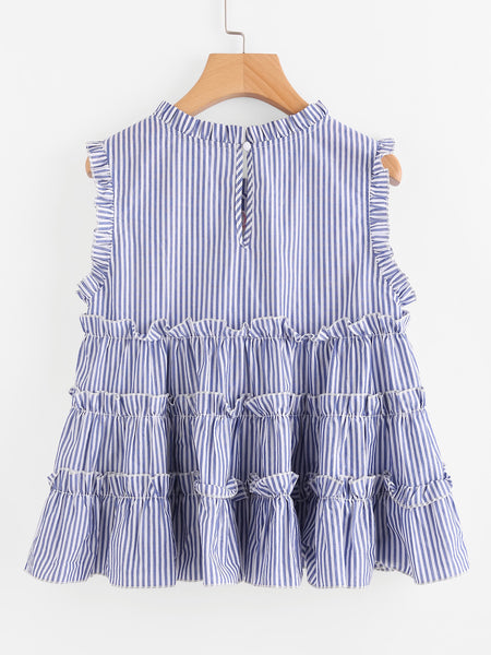 Blue Pinstripe Embroidered Ruffle Keyhole Back Top