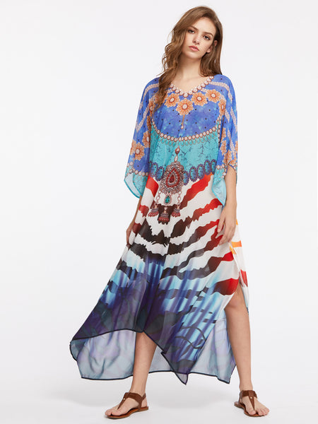 Multicolor Mixed Print 3/4 Sleeve Batwing Side Slit Kimono