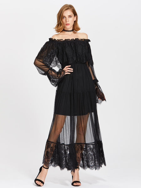 Black Lace Frill Off Shoulder Overlay Tiered Maxi Dress