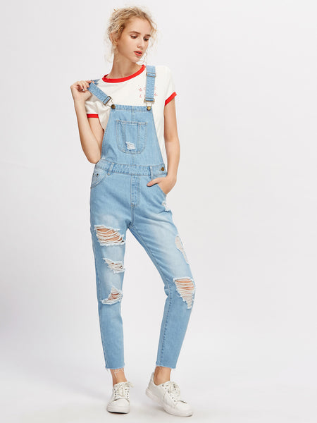 218ccbc0561 Plain Blue Bleach Wash Ripped Denim Square Neck Sleeveless Overall Pants