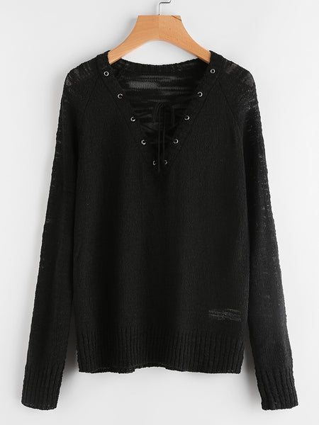 Black Deep V-Neck Lace Up Loose Knit Jumper