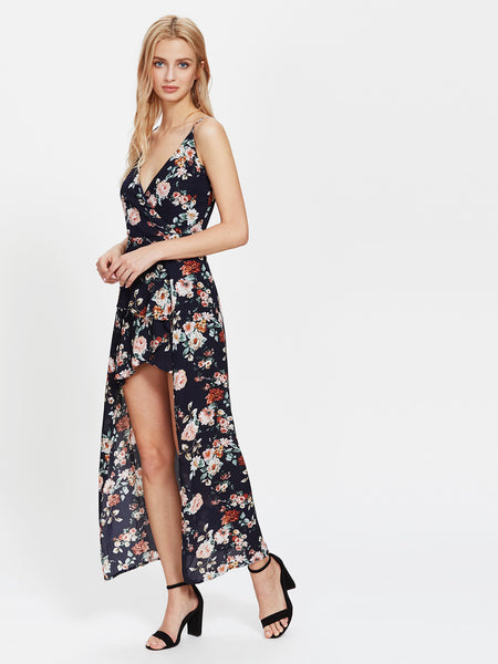 Blue Plunging Floral Print Sleeveless Cami Straps V-Neck Asymmetrical Playsuit