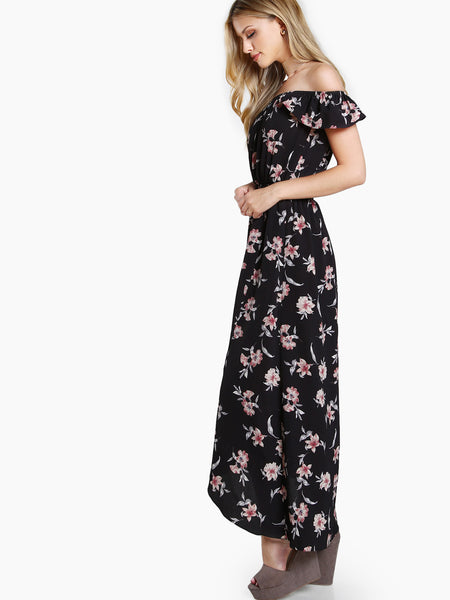 Black Allover Floral Print Short Sleeve Off Shoulder Shirred Waist Overlap Maxi Dress