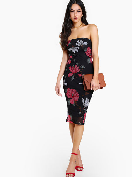 Multicolor Floral Print Sleeveless Strapless Sheath Midi Dress
