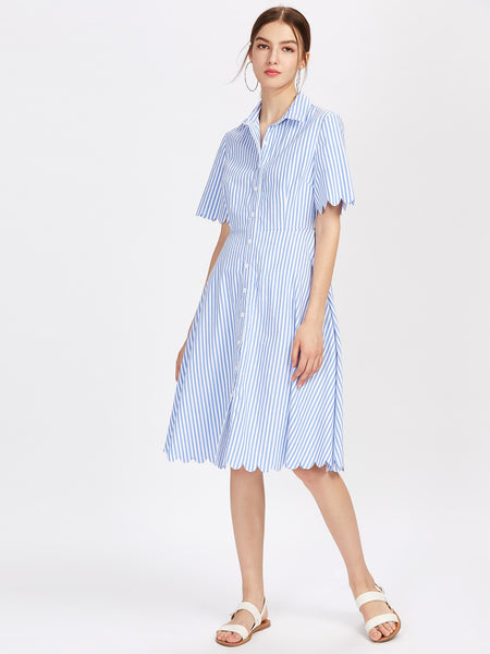 Blue Vertical Stripe Short Sleeve Scallop Front Button A-Line Dress