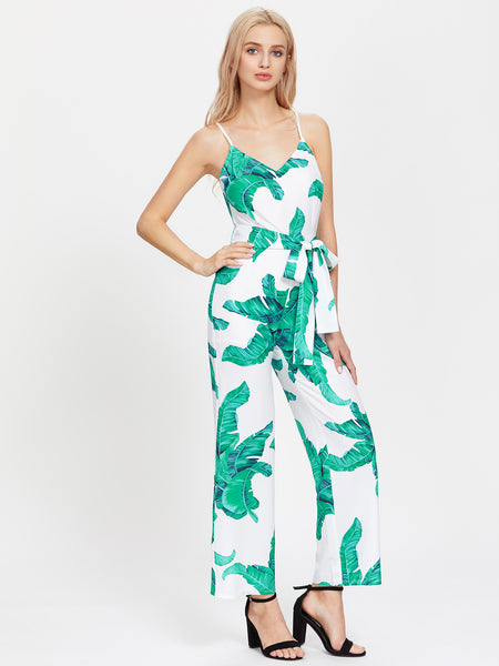 Green Overall Palm Leaf Print Cami Straps Sleeveless Self Tie Jumpsuit