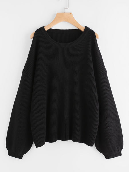 Black Cold Shoulder Lantern Sleeve Jumper