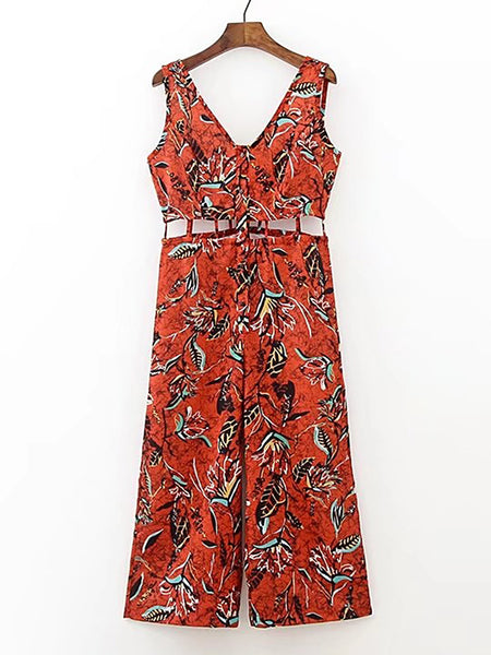 Orange Floral Print Sleeveless Double V-Neck Hollow Out Waist Jumpsuit