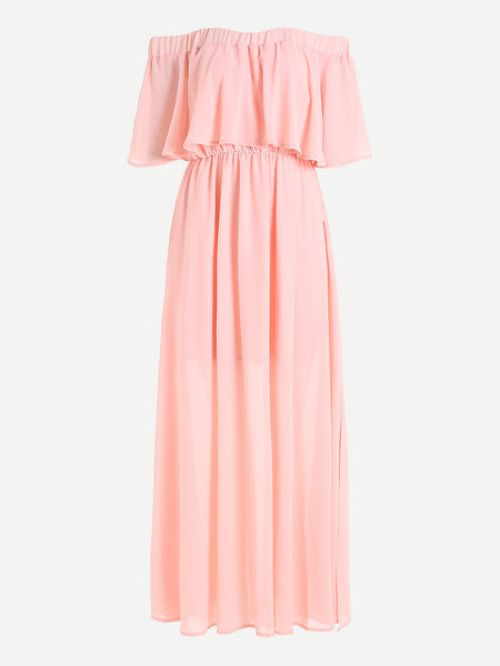Plain Pink Double Layered Half Sleeve Smocked Off Shoulder Maxi Dress