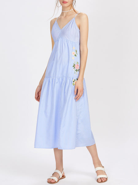 Blue Pinstripe Flower Embroidered V-Neck Adjustable Strap Cami Dress