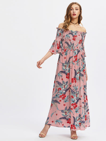 Red Floral Print Smocked Trumpet Sleeve Bardot Maxi Dress