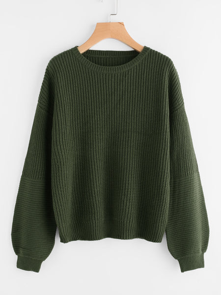 Green Drop Shoulder Puff Sleeve Pullover