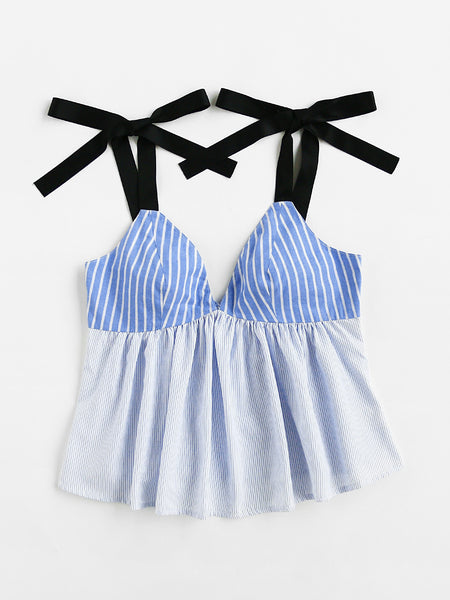 Blue Stripe Contrast Thick Self Tie Strap Top