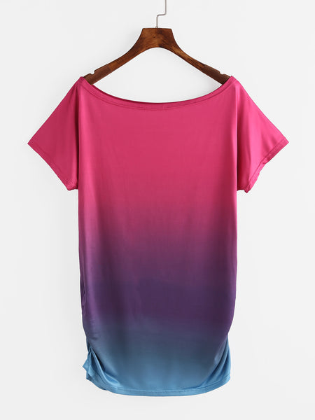Ombre Short Sleeve Round Neck Shirred Side Tee Dress