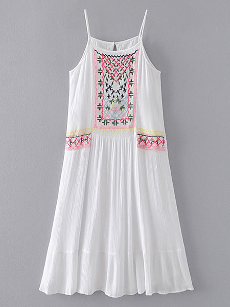 White Embroidery Sleeveless Cami Straps Ruffle Hem Mini Dress