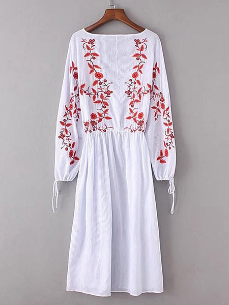 Blue Floral Embroidered Long Sleeve V-Neck Tassel Tie Split Side Midi Dress