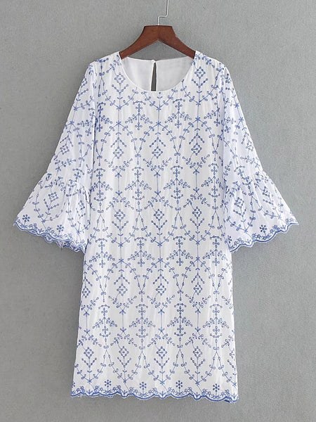 White Embroidery Bell Sleeve 3/4 Sleeve Round Neck Wave Trim Mini Dress