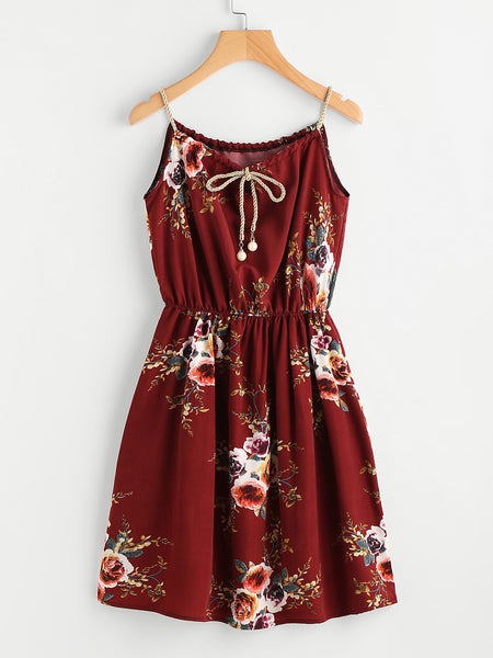 Burgundy Floral Print Continuous Gold String Self Tie Cami Dress