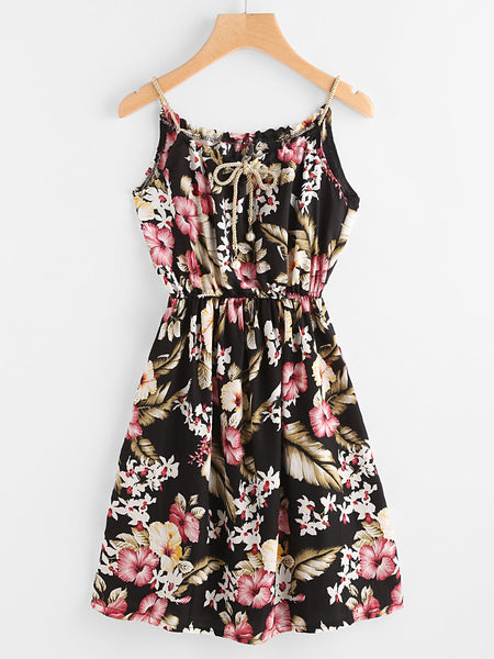 Black Floral Print Continuous Gold String Self Tie Cami Dress