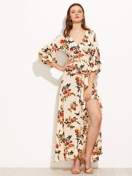 Apricot 3/4 Sleeve Floral Print High Low Wrap Maxi Dress