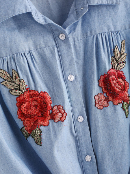 Blue Sleeveless Floral Patch Tie Front Button Shirt