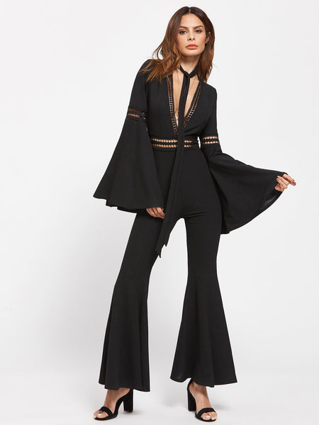 f3a28a86b2 Plain Black Lace Insert Deep V-Neckline Exaggerated Bell Lone Sleeve And  Legs Flared Jumpsuit