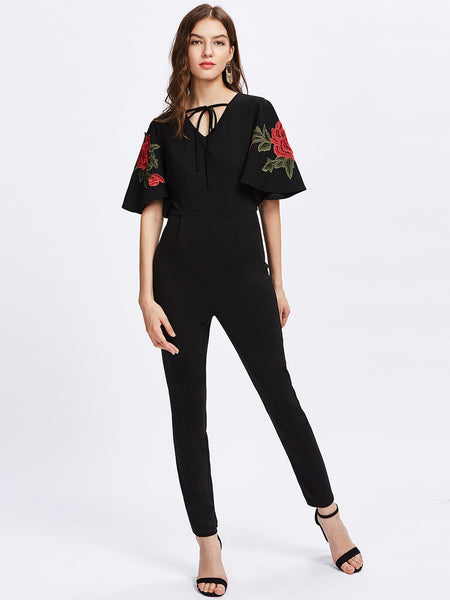 Black Rose Embroidered Applique Flutter Sleeve Tied V-Neck Jumpsuit