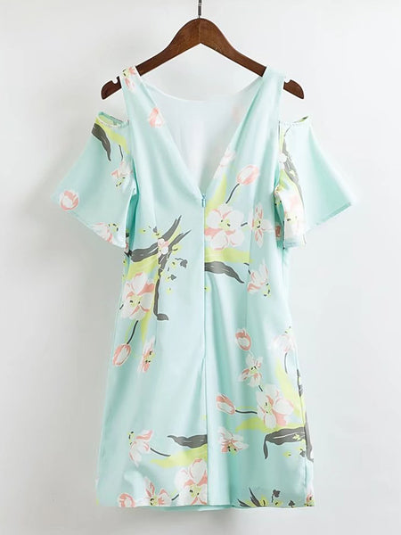 Green Floral Print Open Shoulder V Cut Back Zipper Dress