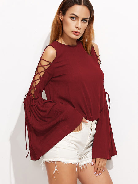 Burgundy Flute Sleeve Lace Up Open Shoulder Round Neck Top