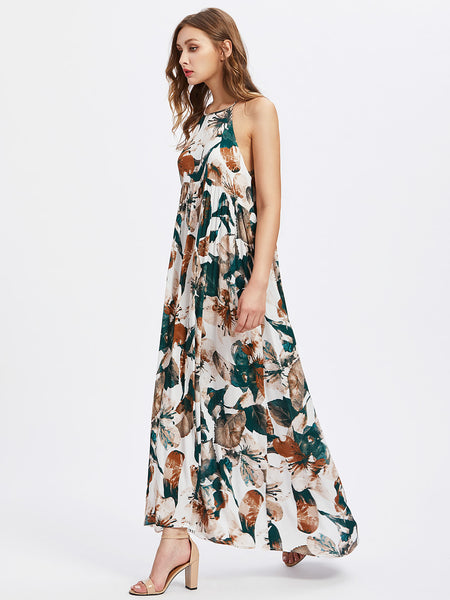 Multicolor Racer Back Floral Print Cut Out Back Maxi Dress