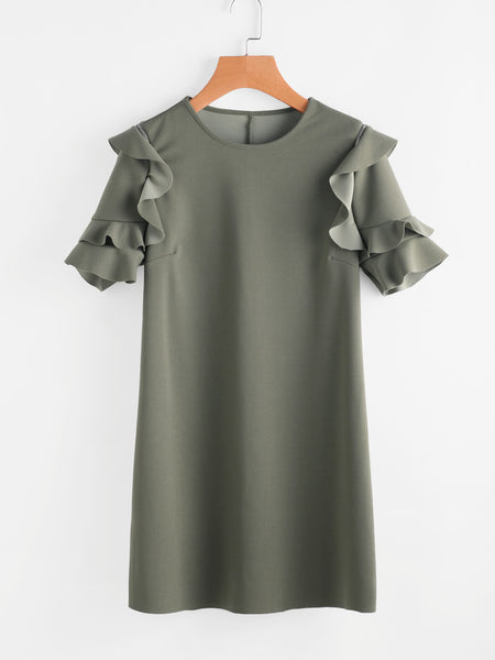 Army Green Round Neck Frilled Sleeve Mini Dress
