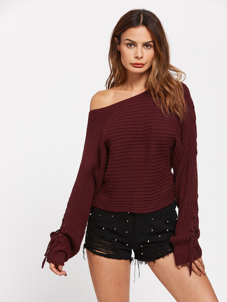 Burgundy Boat Neck Rib Knit Lace Up Dolman Sleeve Pullover