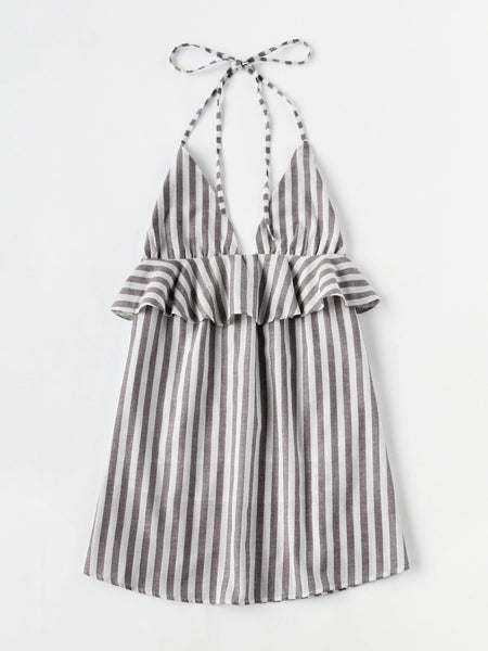 Grey and White Stripe Halter Neck Frill Trim Dress