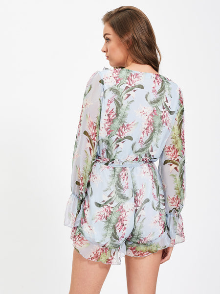 Blue Floral Print Layered V-Neck Bell Long Sleeve Self Tie Ruffle Trim Romper