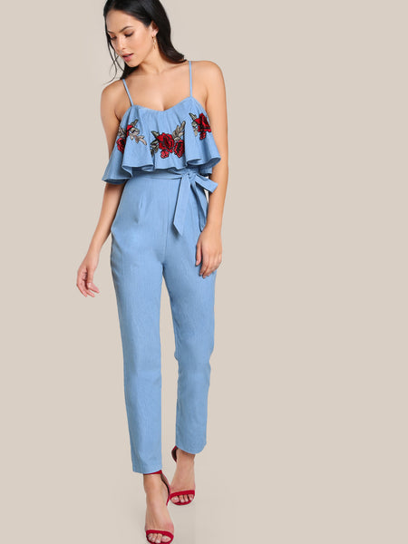 Blue Rose Embroidery Patch Flounce Cami Straps Sleeveless Self Belt Jumpsuit