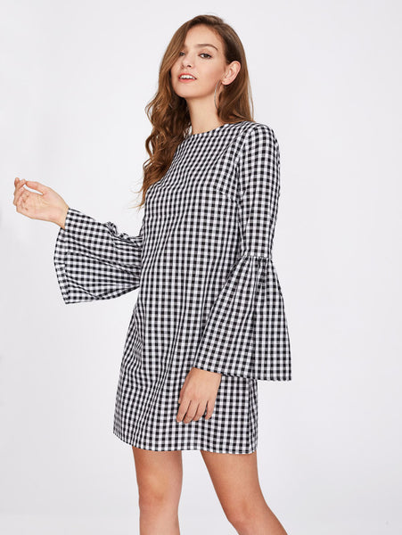 Black And White Allover Checkered Round Neckline Zipper Back Exaggerate Long Bell Sleeve Gingham Mini Dress
