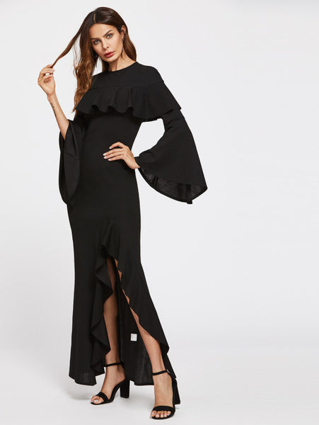 Black Flounce Trim Slit Front With Trumpet Sleeve Dress