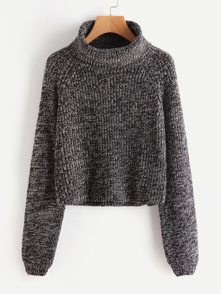Black Turtleneck Marled Knit Raglan Sleeve Pullover